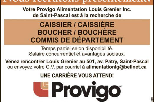 CAISSIER(ÈRE) – BOUCHER(ÈRE) – COMMIS DE DÉPARTEMENT