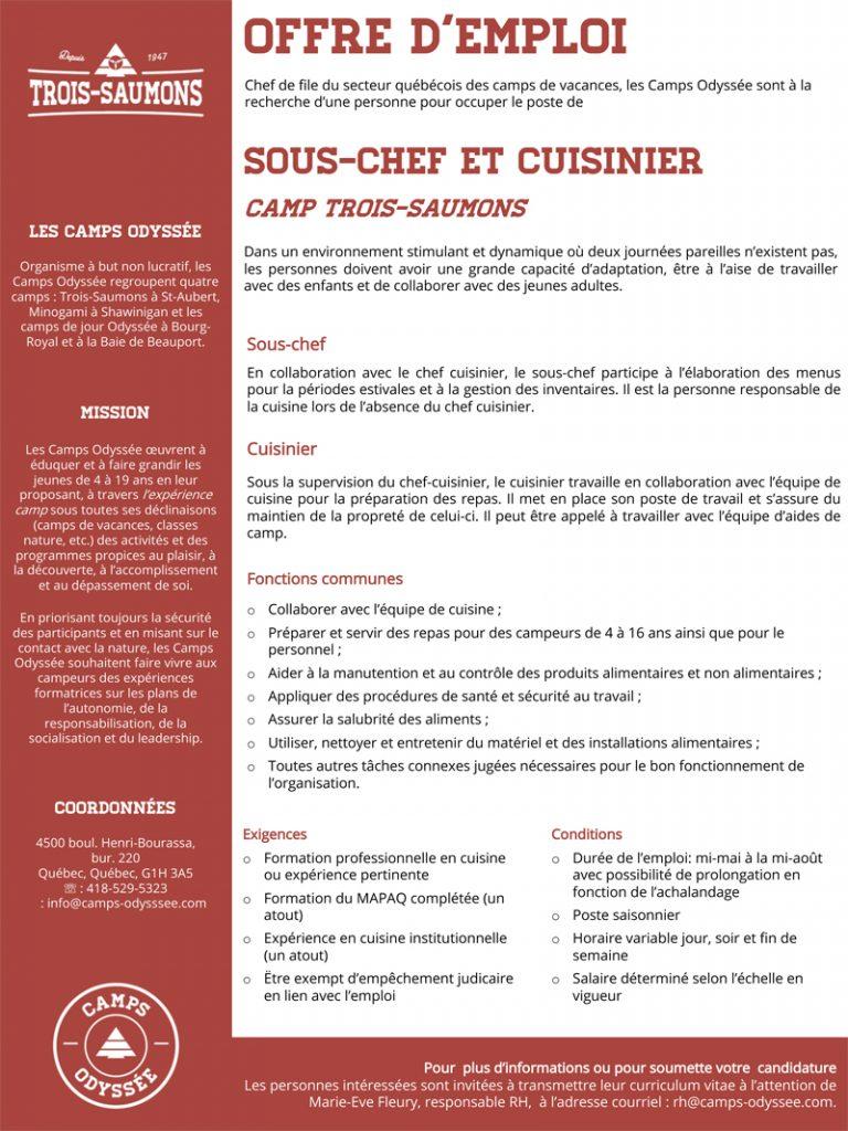 Sous chef et cuisinier le placoteux for Chef cuisinier emploi