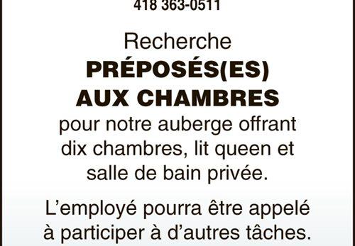 PRÉPOSÉS(ES) AUX CHAMBRES