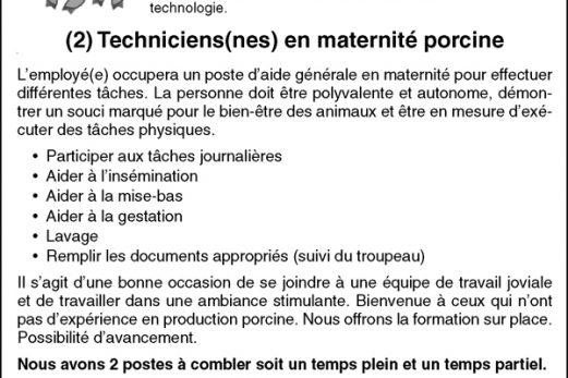 (2) Techniciens(nes) en maternité porcine