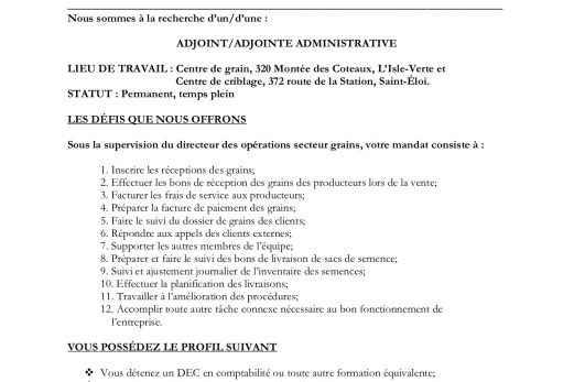 Adjoint / adjointe administrative