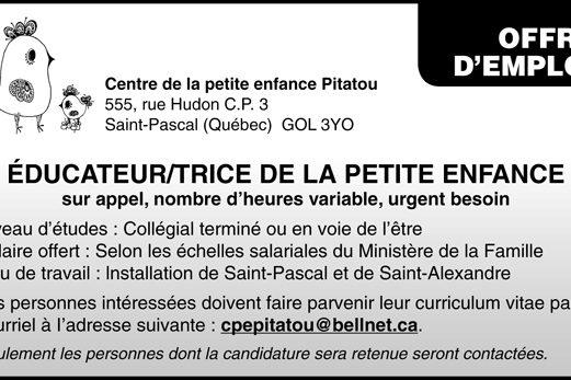 ÉDUCATEUR/TRICE DE LA PETITE ENFANCE
